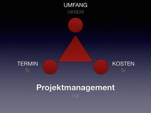 Grafik aus Dreieck und drei Kreisen: Agiles Projektmanagement: Termin und Kosten fix - Umfang (score) variabel