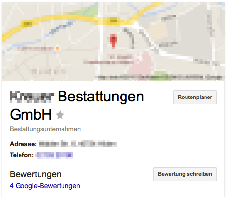 Empfehlung: Und auch in der Google-Suche (Maps) - Vier Kommentare = Bewertungen +++